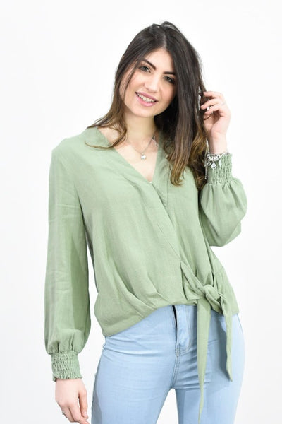 Silver Wishes  Linen Viscose Crossover Blouse