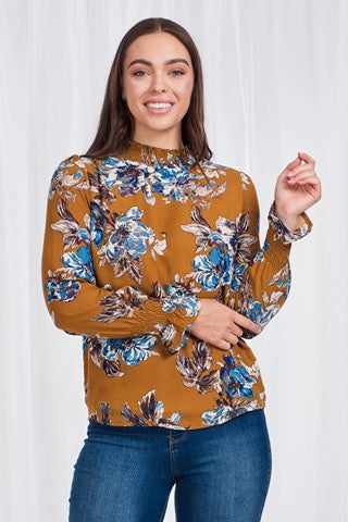 Caroline Morgan Long Sleeve Printed Blouse with shirred cuff and high neck