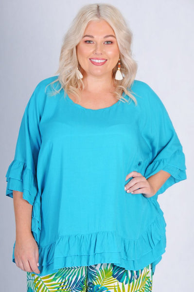 Bodacious Relaxed Top Double Frill - Peacock