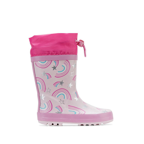 Clarks Puddles Pink Rainbows Gumboot
