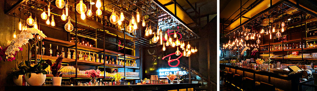 Globe LED decorations in bar