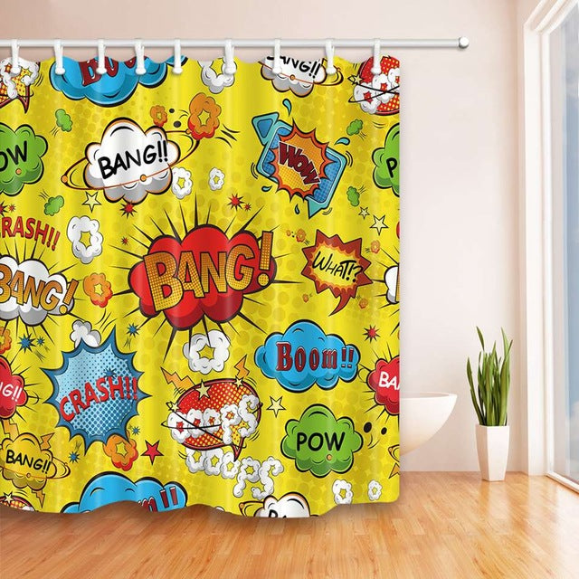 Shower Curtain Comic Book Explosion Expression Dynamite Cartoon Printing Waterproof Mildewproof Polyester Fabric Bath Curtains