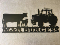 Personalised Farm Sign (Cows & Tractor) - Plazmart NZ