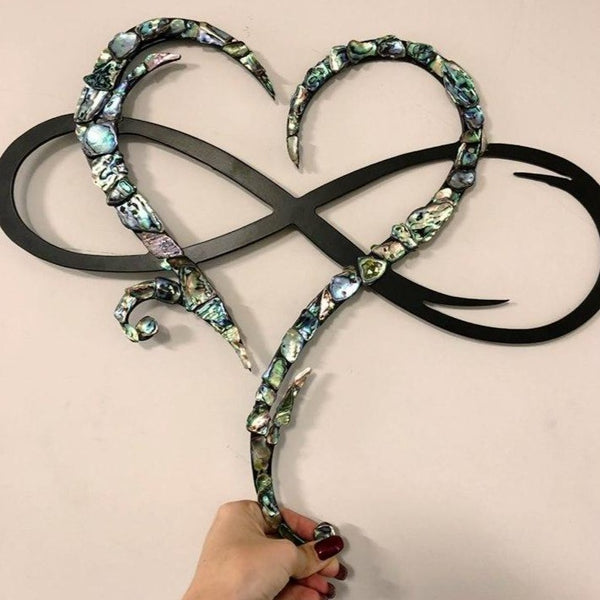 Metal Paua Infinity Heart - Plazmart NZ