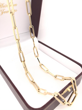 14K YELLOW GOLD LARGE LINK PAPERCLIP STYLE CHAIN