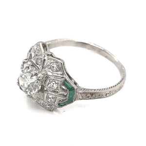 ART DECO 1.16 CARAT DIAMOND EMERALD AND PLATINUM RING