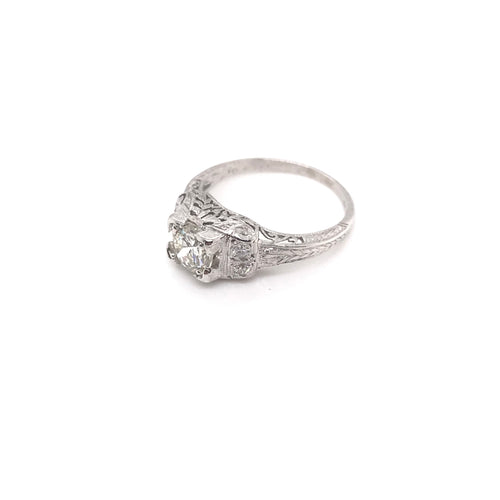 EDWARDIAN 0.74 CARAT DIAMOND AND PLATINUM FILIGREE RING
