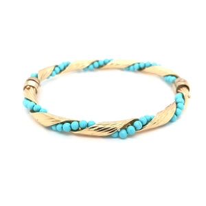 VINTAGE TURQUOISE AND GOLD BANGLE
