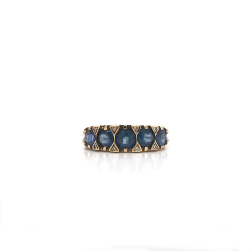 MID CENTURY 1.75 TW SAPPHIRE VICTORIAN REVIVAL STYLE RING