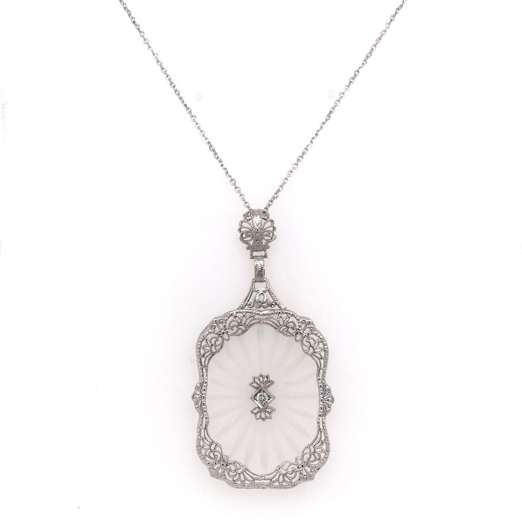 ART DECO CRYSTAL AND FILIGREE NECKLACE
