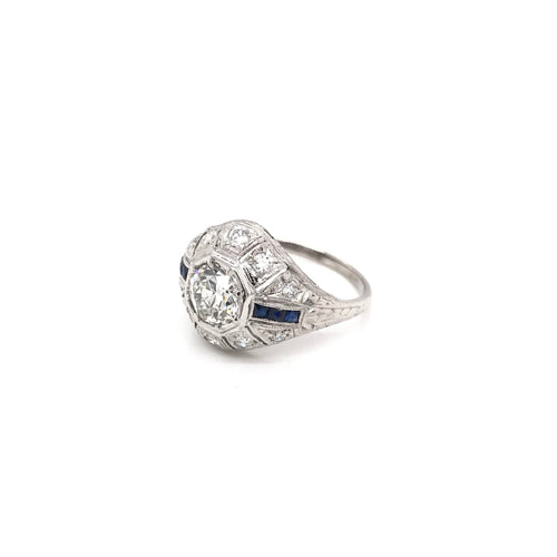 ART DECO 0.94 CARAT DIAMOND AND SAPPHIRE PLATINUM RING