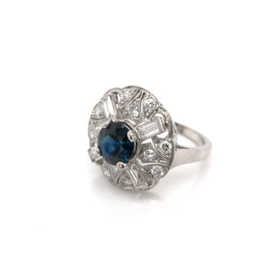 MID CENTURY 1.82 CARAT SAPPHIRE DIAMOND AND PLATINUM COCKTAIL RING