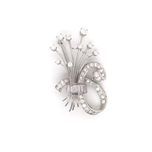 RETRO PLATINUM AND DIAMOND BROOCH