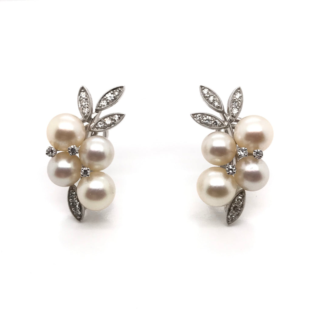 RETRO DIAMOND AND PEARL CLIP-ON EARRINGS