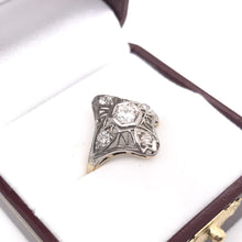 ART NOUVEAU GOLD PLATINUM AND DIAMOND RING