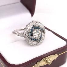 ANTIQUE STYLE DIAMOND SAPPHIRE AND PLATINUM RING