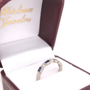 ANTIQUE STYLE SAPPHIRE AND DIAMOND PLATINUM BAND