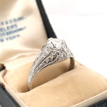 EDWARDIAN 0.71 CARAT DIAMOND AND PLATINUM SOLITAIRE RING