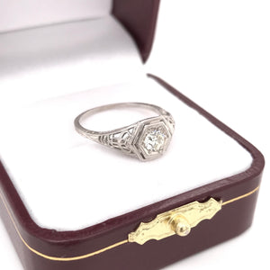 0.33 CARAT ART DECO DIAMOND FILIGREE RING
