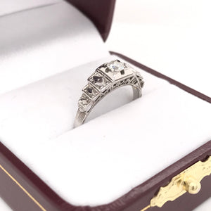 MID CENTURY HARLEQUIN DIAMOND RING