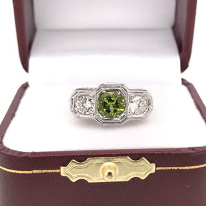 ART DECO PERIDOT AND DIAMOND FILIGREE RING