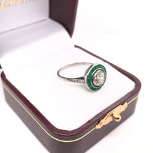 ART DECO 0.90 CARAT DIAMOND AND EMERALD PLATINUM RING