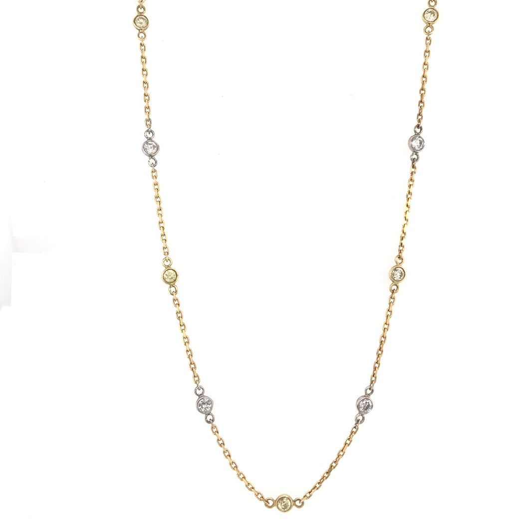 1.50 CARAT WHITE AND YELLOW DIAMOND NECKLACE