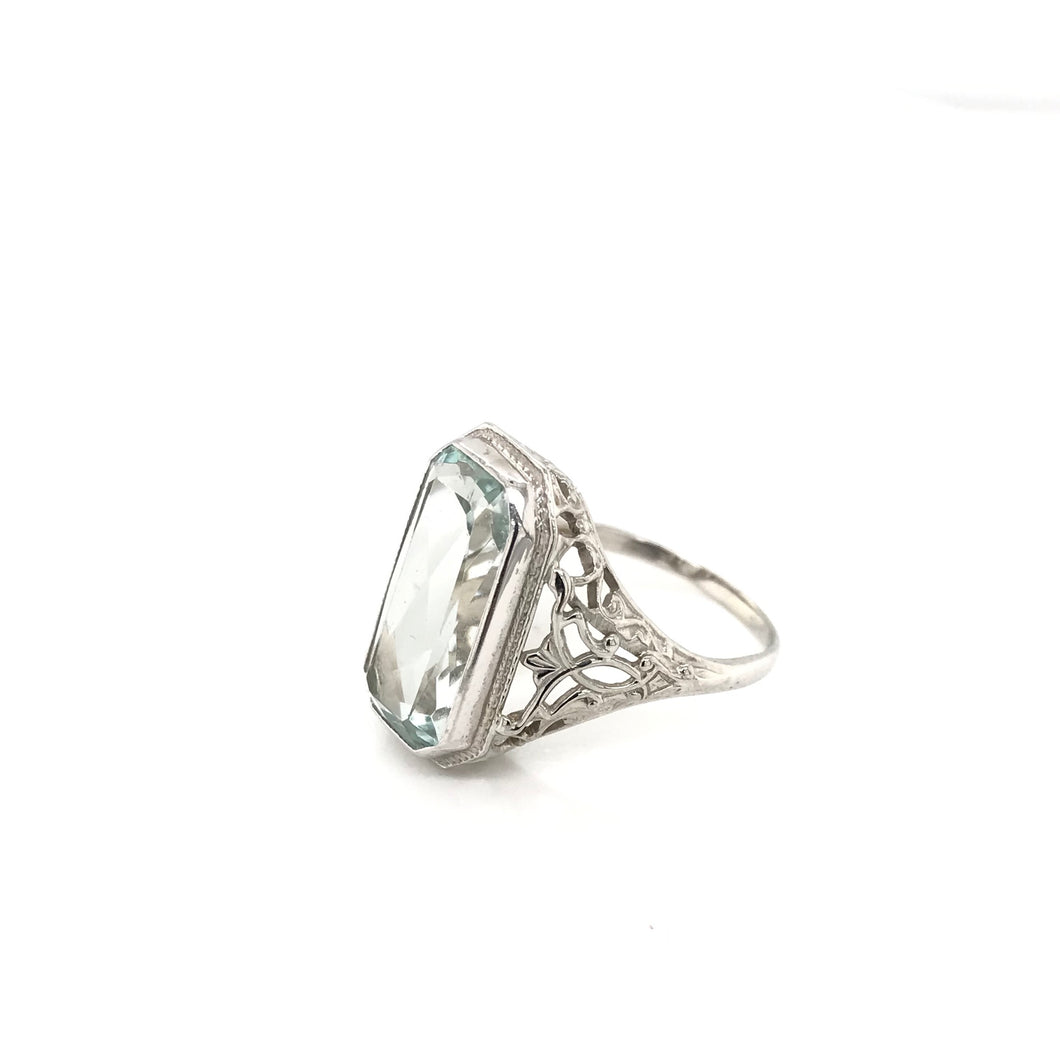 ART DECO AQUAMARINE FILIGREE RING