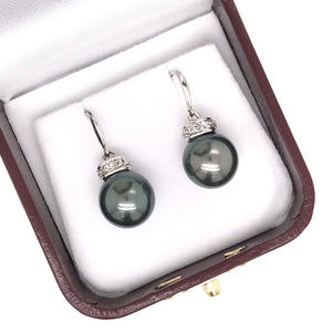 10MM GREY PEARL DANGLE EARRINGS