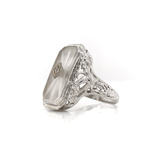 ANTIQUE CRYSTAL WITH DIAMOND ACCENT AND FILIGREE RING