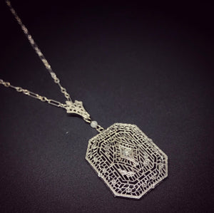 ART DECO DIAMOND AND FILIGREE PENDANT