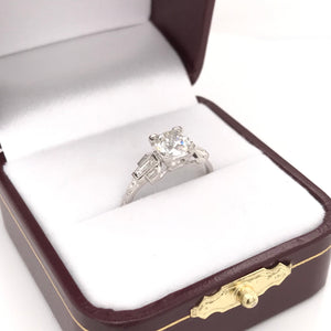 1.0 CARAT ART DECO DIAMOND PLATINUM RING