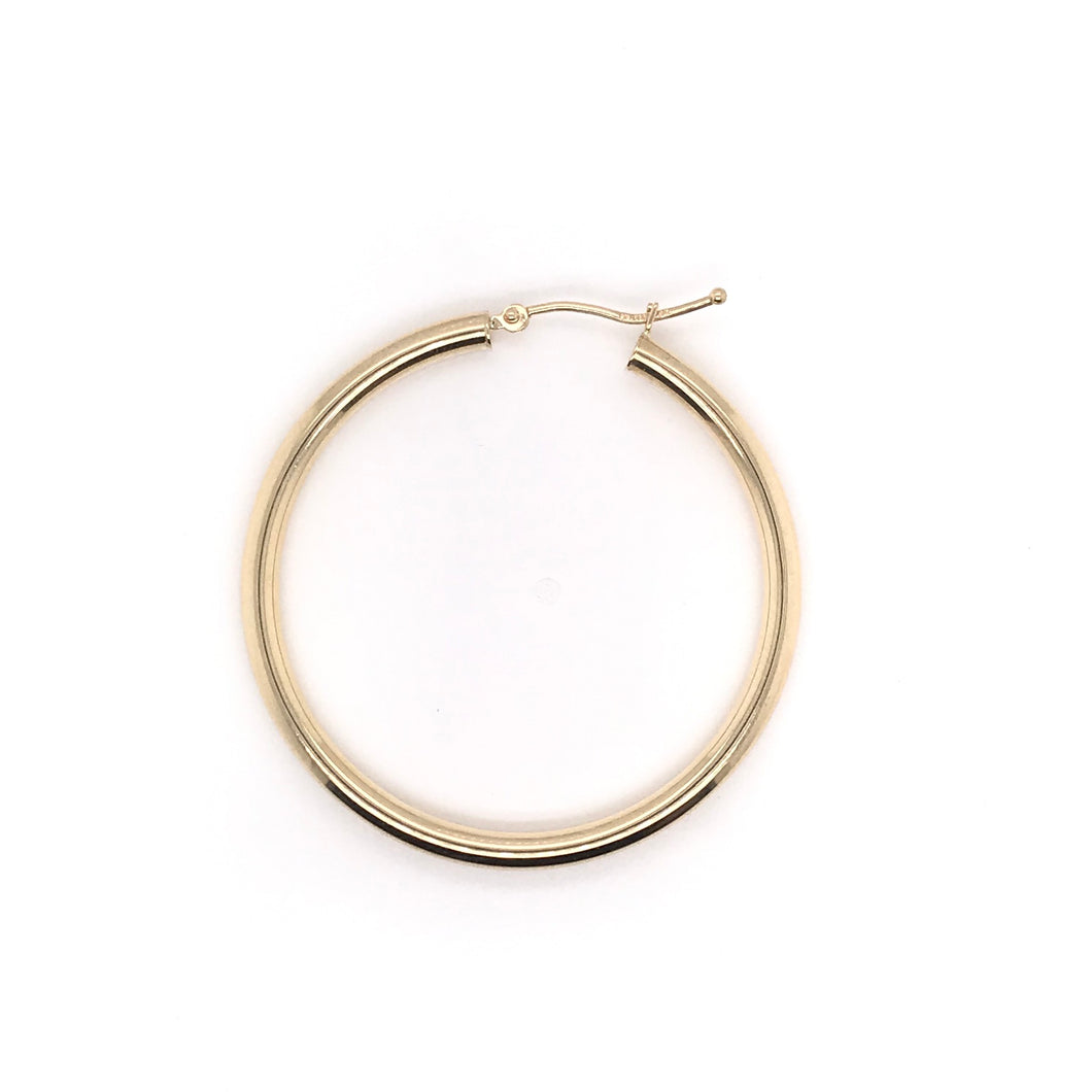 14K YELLOW GOLD 3MM HOOP EARRINGS