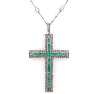 ART DECO DIAMOND EMERALD AND PLATINUM CROSS