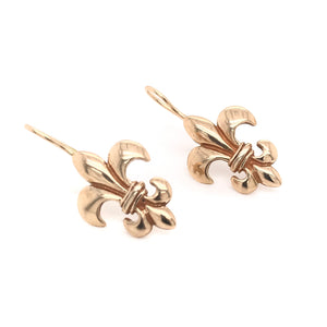 SOLID 14K GOLD FLEUR-DE-LIS EARRINGS