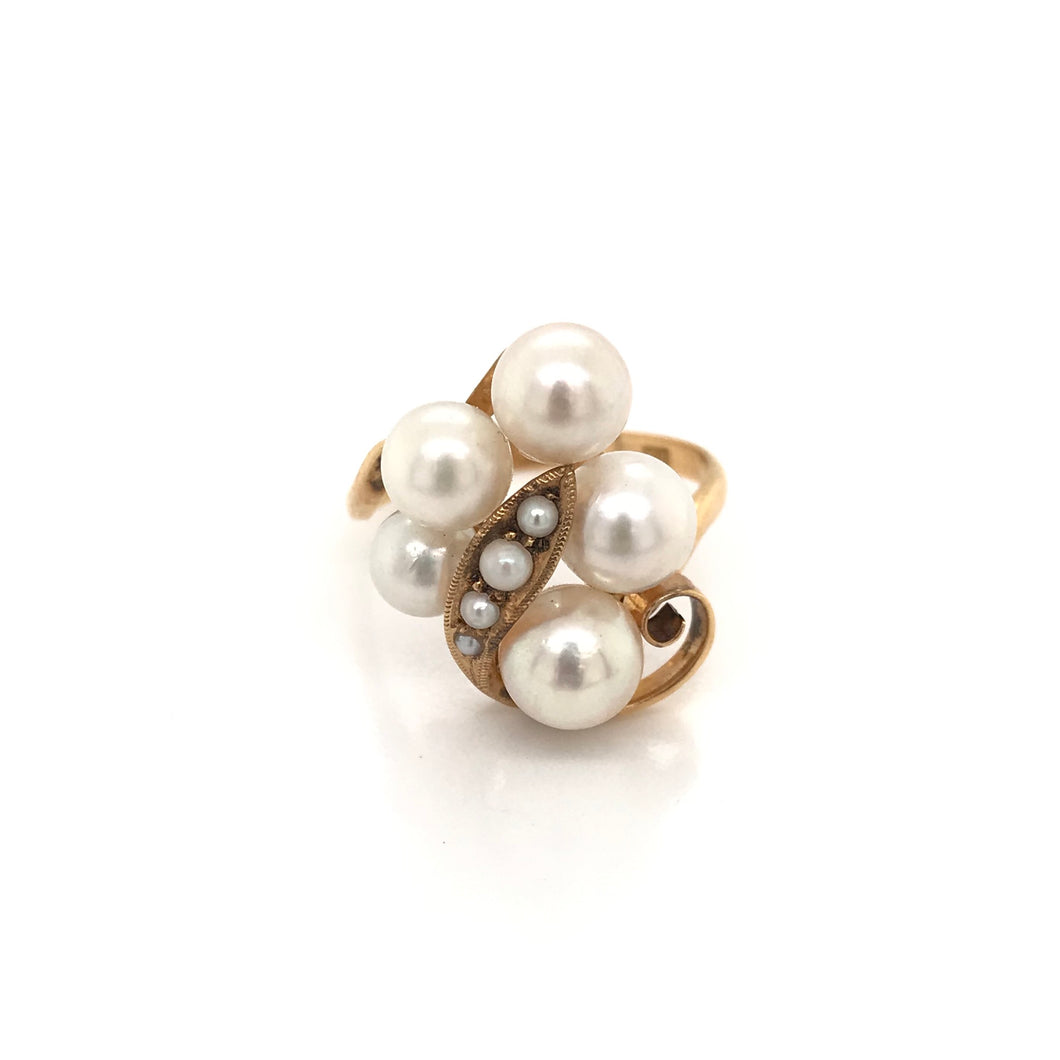 MID CENTURY PEARL CLUSTER RING