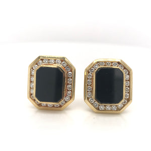 MID-CENTURY ONYX AND DIAMOND EARRINGS