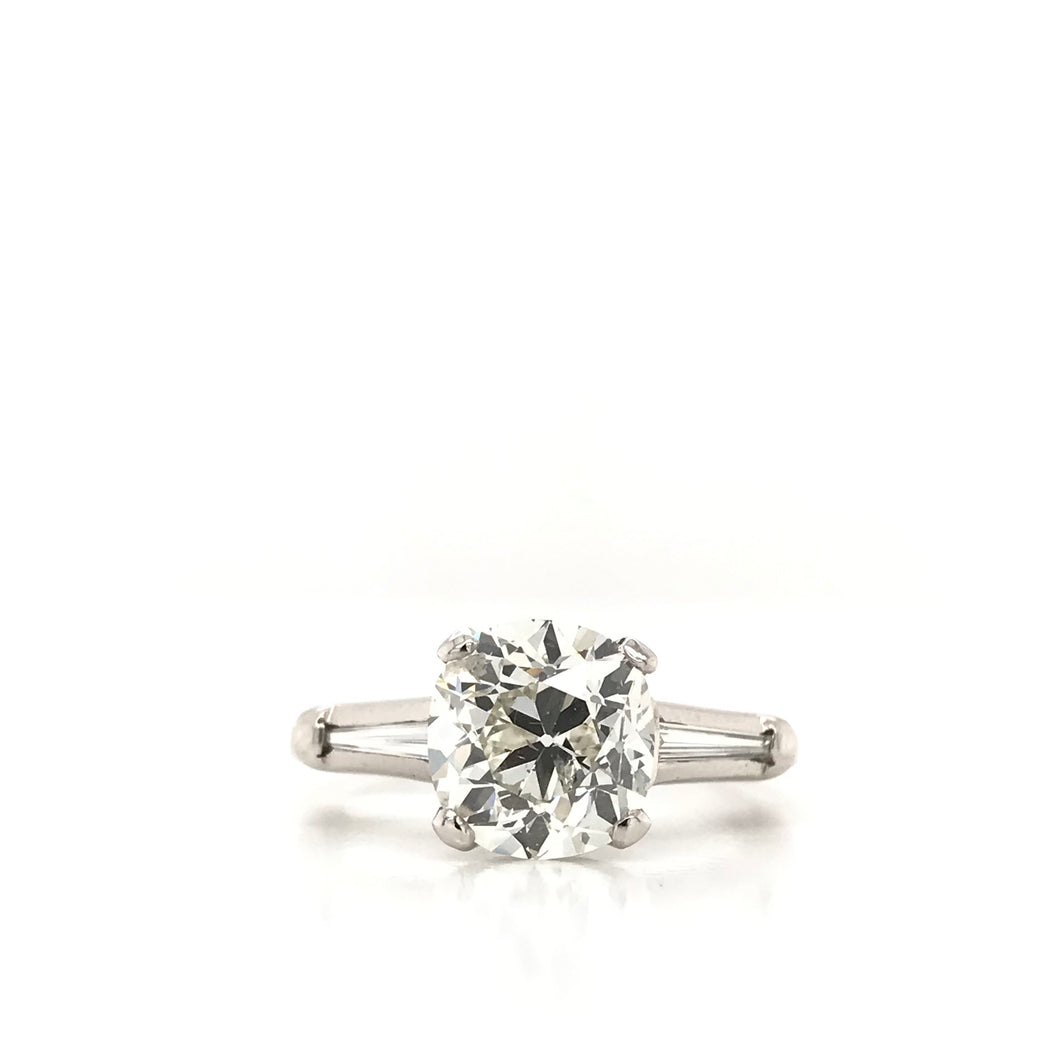 2.35 OLD MINE CUT DIAMOND PLATINUM RING
