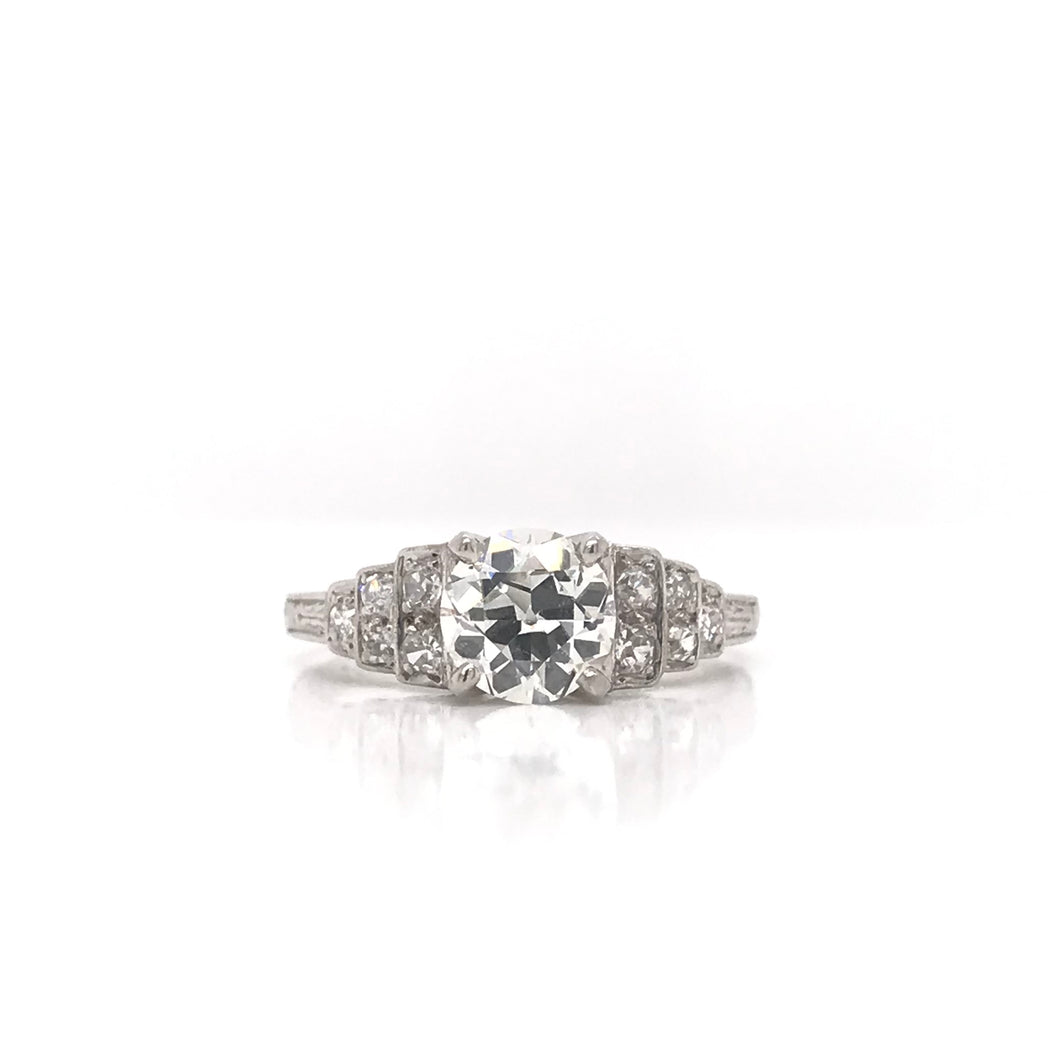 MID CENTURY 1.12 CARAT DIAMOND AND PLATINUM RING