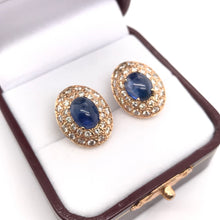 5 CARAT TW CABOCHON CUT BLUE SAPPHIRE AND DIAMOND EARRINGS