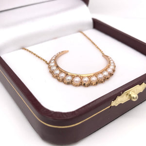 VICTORIAN GRADUATED PEARL CRESCENT MOON NECKLACE