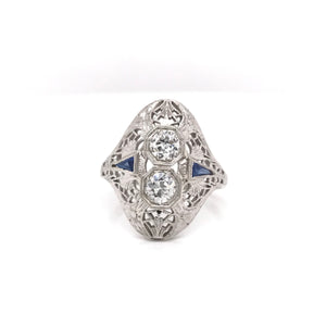 ANTIQUE DIAMOND AND SAPPHIRE DINNER RING