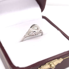ART DECO FILIGREE RING WITH DIAMOND ACCENT