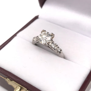 MID CENTURY 1.46 CARAT DIAMOND PLATINUM RING