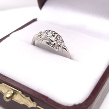 ART DECO PLATINUM FILIGREE RING WITH DIAMOND ACCENTS