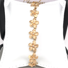 14K GOLD AND DIAMOND FLOWER CHAIN BRACELET ( 7 INCH )