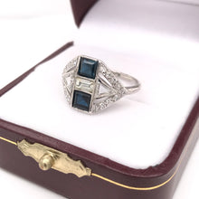 ART DECO DIAMOND SAPPHIRE AND PLATINUM VARIETY RING