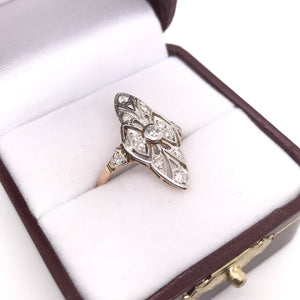 EDWARDIAN DIAMOND ACCENTED FILIGREE RING
