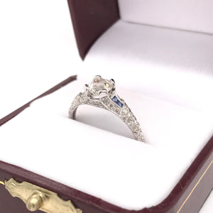 ANTIQUE STYLE 0.90 CARAT DIAMOND AND SAPPHIRE RING