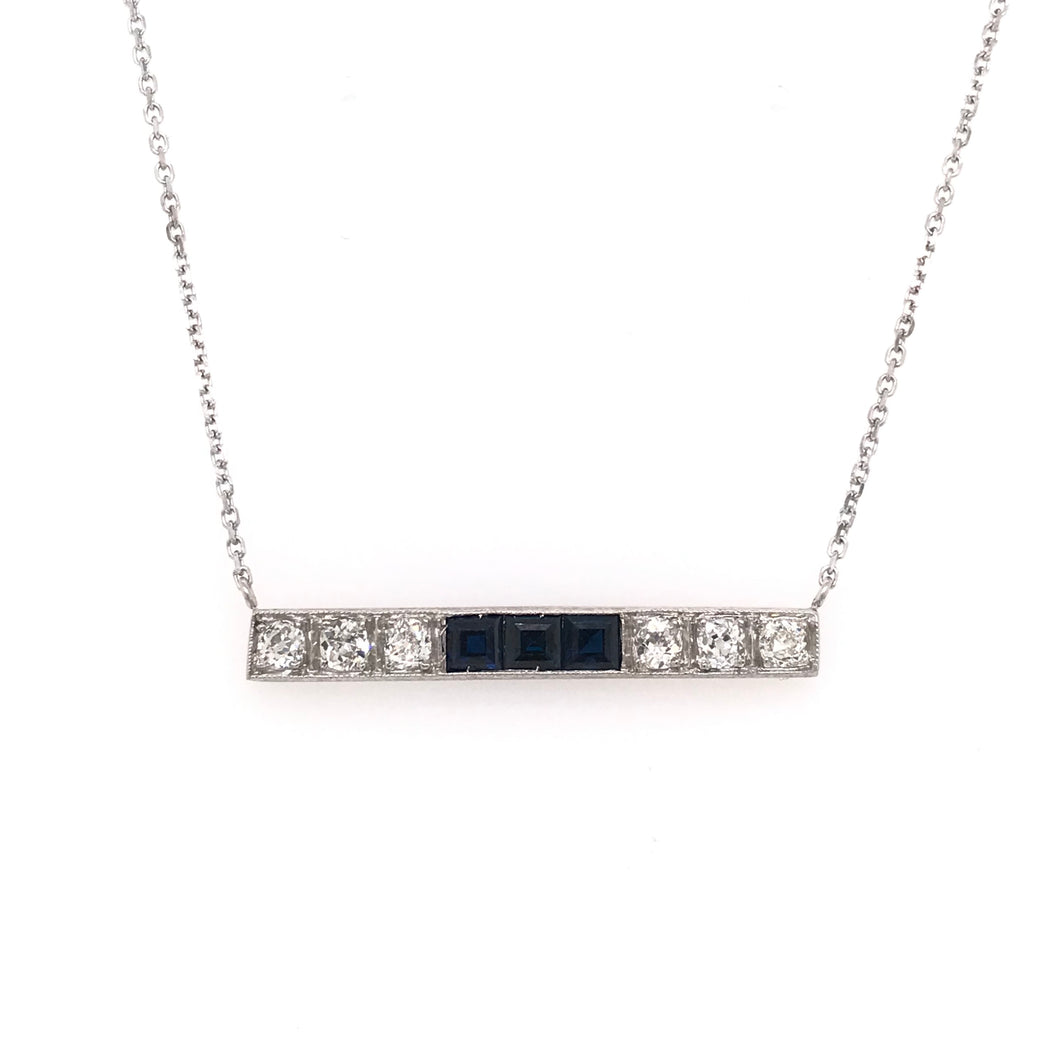 ANTIQUE DIAMOND AND SAPPHIRE PLATINUM BAR NECKLACE